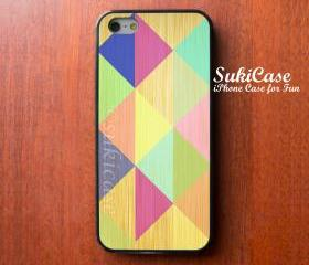IPHONE 5 CASE GEOMETRIC Bright Colorful Wooden iPhone Case iPhone 5 Case iPhone 4 Case Samsung Galaxy S4 S3 Cover iPhone 5c iPhone 4s cases